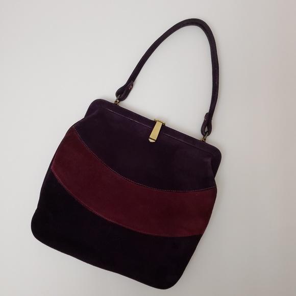 Vintage Handbags - Vintage Purple Suede Framed Clasp Handbag